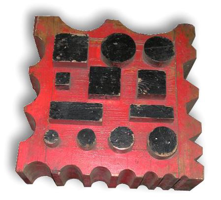 Fisher Swage Block Pattern painted red and black