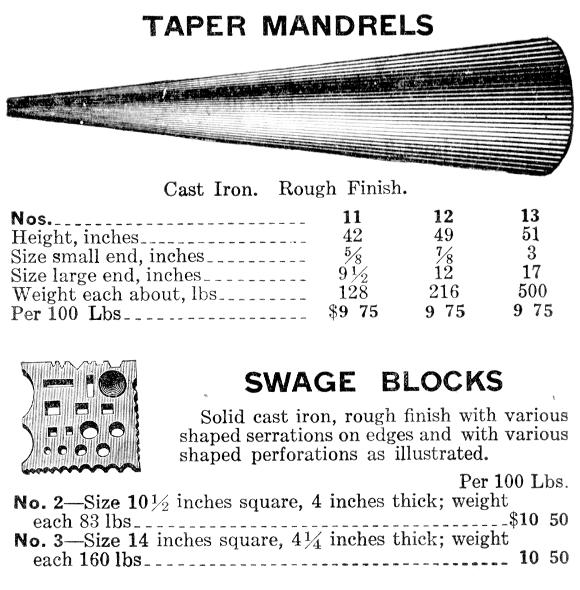 1917 Belknap Catalog - Taper Mandrels and Swage Blocks
