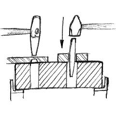Cross section drawing punching and drifting on a swage block